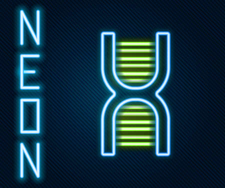 Glowing neon line DNA symbol icon isolated on black background. Colorful outline concept. Vector