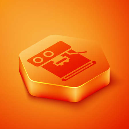 Isometric Coffee machine icon isolated on orange background. Orange hexagon button. Vector Illustration