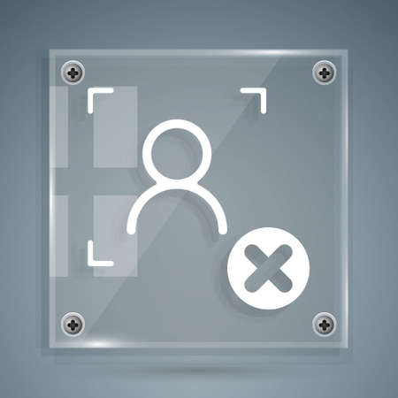 White Rejection face recognition icon isolated on grey background. Face identification scanner icon. Facial id. Cyber security concept. Square glass panels. Vector