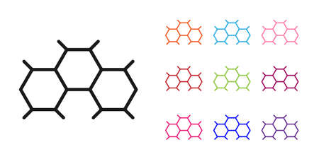 Black Chemical formula icon isolated on white background. Abstract hexagon for innovation medicine, health, research and science. Set icons colorful. Vector