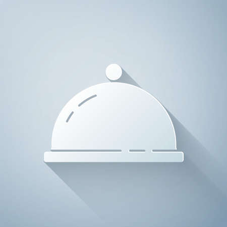 Paper cut Covered with a tray of food icon isolated on grey background. Tray and lid sign. Restaurant cloche with lid. Paper art style. Vector 矢量图像