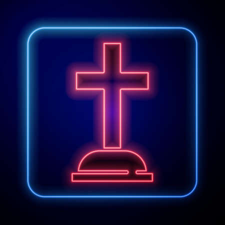 Glowing neon Tombstone with cross icon isolated on blue background. Grave icon. Vector