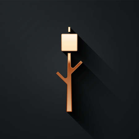 Gold Marshmallow on stick icon isolated on black background. Long shadow style. Vector 矢量图像