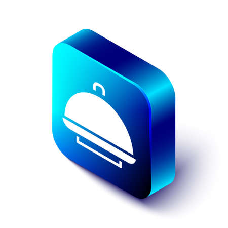 Isometric Covered with a tray of food icon isolated on white background. Tray and lid sign. Restaurant cloche with lid. Blue square button. Vector