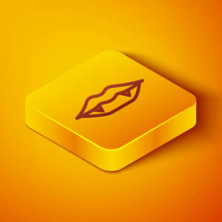 Isometric line Vampire teeth icon isolated on orange background. Happy Halloween party. Yellow square button. Vector