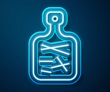 Glowing neon line Cutting board icon isolated on blue background. Chopping Board symbol. Vector 向量圖像