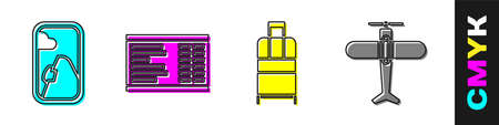 Set Airplane window, Airport board, Suitcase and Plane icon. Vector Stock Illustratie