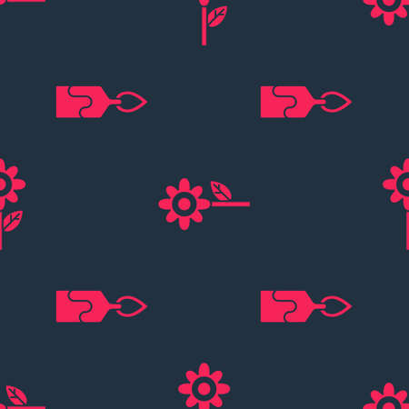 Set Burning candle and Flower on seamless pattern. Vector
