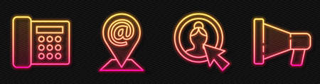 Set line Create account screen, Telephone, Location and mail and e-mail and Megaphone. Glowing neon icon. Vector