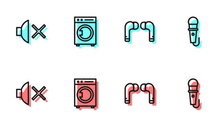 Set line Air headphones, Speaker mute, Washer and Microphone icon. Vector Çizim