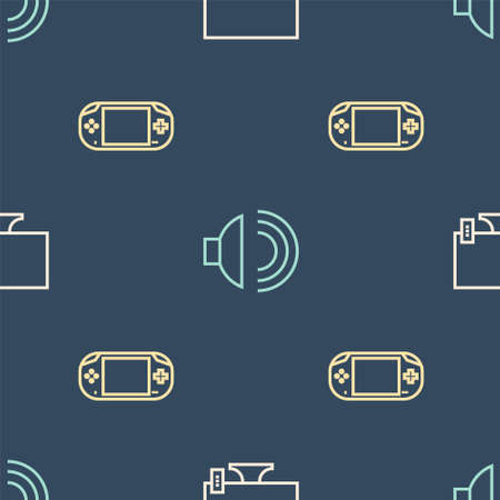 Set line Smart Tv, Portable video game console and Speaker volume on seamless pattern. Vector Çizim