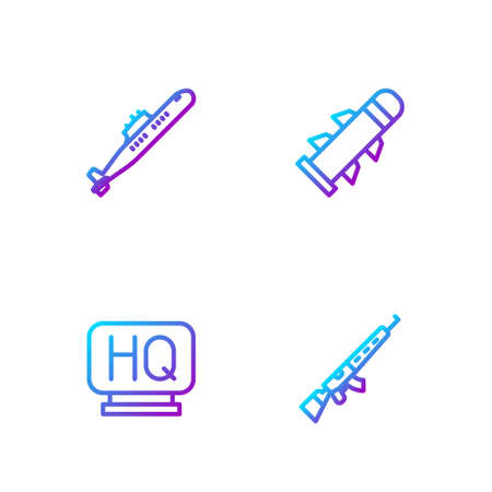 Set line Sniper rifle with scope, Military headquarters, Submarine and Rocket. Gradient color icons. Vector