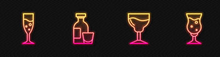 Set line Wine glass, Glass of champagne, Alcohol drink Rum and beer. Glowing neon icon. Vector 向量圖像