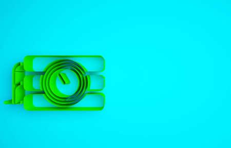 Green Detonate dynamite bomb stick and timer clock icon isolated on blue background. Time bomb - explosion danger concept. Minimalism concept. 3d illustration 3D render 版權商用圖片 - 159621282