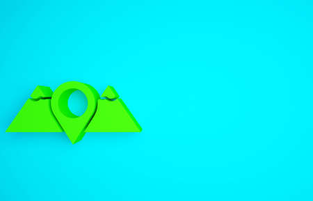 Green Location mountains icon isolated on blue background. Symbol of victory or success concept. Minimalism concept. 3d illustration 3D render 版權商用圖片
