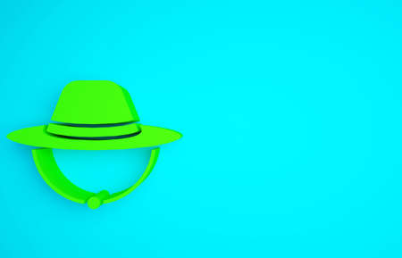 Green Camping hat icon isolated on blue background. Beach hat panama. Explorer travelers hat for hunting, hiking, tourism. Minimalism concept. 3d illustration 3D render