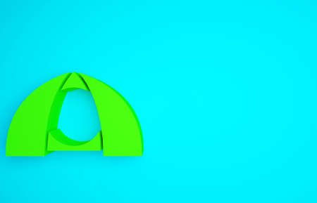 Green Tourist tent icon isolated on blue background. Camping symbol. Minimalism concept. 3d illustration 3D render 版權商用圖片 - 159610134