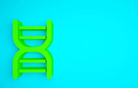 Green DNA symbol icon isolated on blue background. Minimalism concept. 3d illustration 3D render