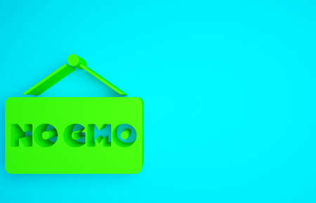 Green No GMO icon isolated on blue background. Genetically modified organism acronym. Dna food modification. Minimalism concept. 3d illustration 3D render 版權商用圖片 - 159610288