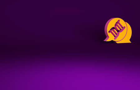 Orange DNA symbol icon isolated on purple background. Minimalism concept. 3d illustration 3D render