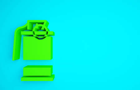 Green Hand smoke grenade icon isolated on blue background. Bomb explosion. Minimalism concept. 3d illustration 3D render