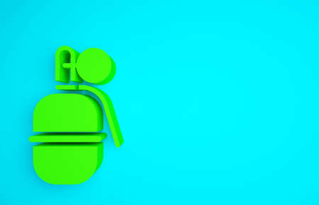 Green Hand grenade icon isolated on blue background. Bomb explosion. Minimalism concept. 3d illustration 3D render
