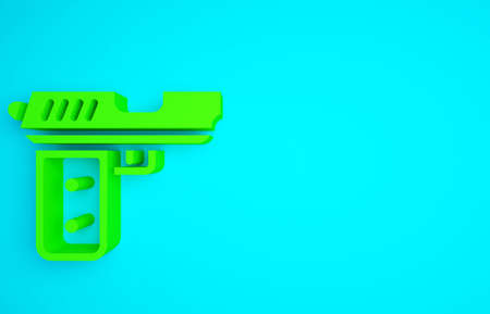 Green Pistol or gun icon isolated on blue background. Police or military handgun. Small firearm. Minimalism concept. 3d illustration 3D render