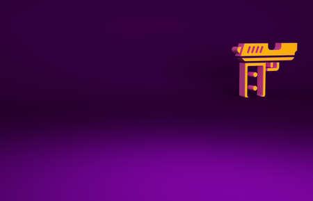 Orange Pistol or gun icon isolated on purple background. Police or military handgun. Small firearm. Minimalism concept. 3d illustration 3D render Фото со стока