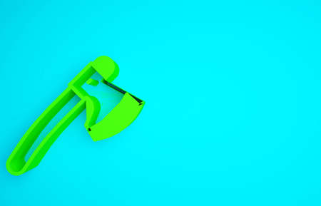 Green Wooden axe icon isolated on blue background. Lumberjack axe. Minimalism concept. 3d illustration 3D render