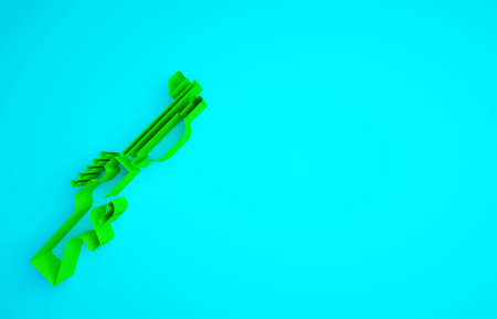 Green Hunting gun icon isolated on blue background. Hunting shotgun. Minimalism concept. 3d illustration 3D render Фото со стока