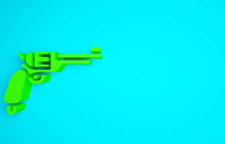 Green Revolver gun icon isolated on blue background. Minimalism concept. 3d illustration 3D render Фото со стока
