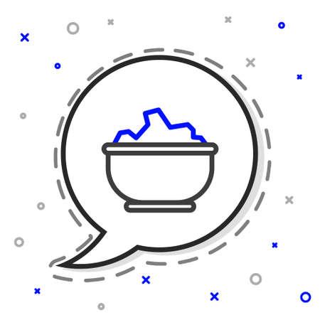 Line Sea salt in a bowl icon isolated on white background. Colorful outline concept. Vector Illustration Ilustração
