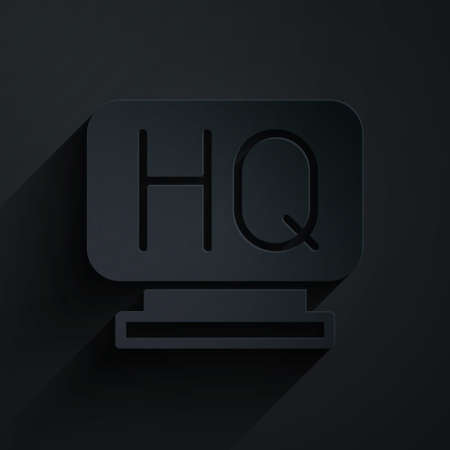 Paper cut Military headquarters icon isolated on black background. Paper art style. Vector 일러스트