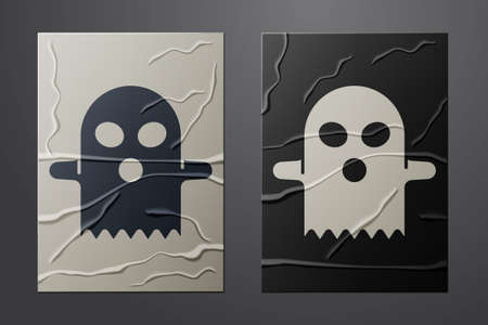 White Ghost icon isolated on crumpled paper background. Happy Halloween party. Paper art style. Vector
