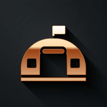 Gold Military barracks station icon isolated on black background. Airstrikes architecture army. Long shadow style. Vector