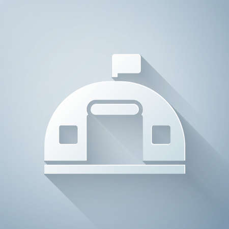 Paper cut Military barracks station icon isolated on grey background. Airstrikes architecture army. Paper art style. Vector