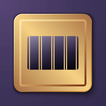 Purple Color palette guide icon isolated on purple background. Modular grid. Gold square button. Vector Stock Illustratie