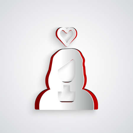Paper cut Romantic girl icon isolated on grey background. Happy Valentines Day. Paper art style. Vector