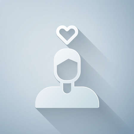 Paper cut Romantic man icon isolated on grey background. Happy Valentines Day. Paper art style. Vector