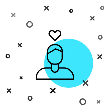 Black line Romantic man icon isolated on white background. Happy Valentines Day. Random dynamic shapes. Vector