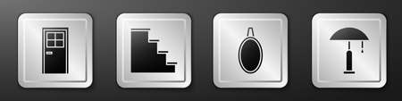 Set Closed door, Staircase, Mirror and Table lamp icon. Silver square button. Vector
