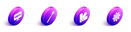 Set Isometric Speech bubble with text CMYK, Magic wand, Color palette guide and Globe of the Earth and gear icon. Vector