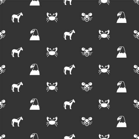 Set Rat head, Eagle, Horse and Crab on seamless pattern. Vector Vector Illustration