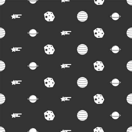 Set Planet Venus, Saturn, Falling star and Asteroid on seamless pattern. Vector