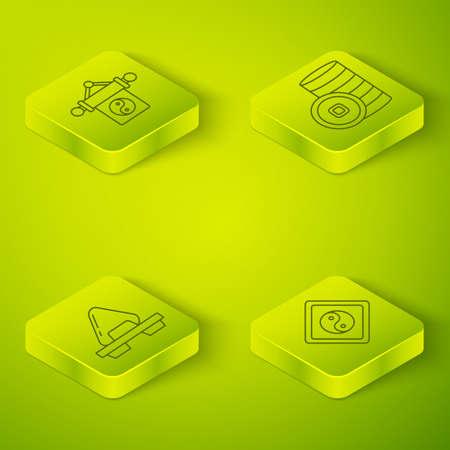 Set Isometric Chinese Yuan currency, Sushi on cutting board, Yin Yang and Yin Yang icon. Vector