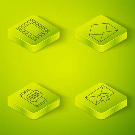 Set Isometric Envelope, Chat messages notification on phone, Envelope with star and Postal stamp icon. Vector Stock Illustratie