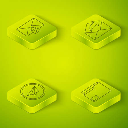 Set Isometric Outgoing mail, Paper plane, Document folder and Mail message lock password icon. Vector Stock Illustratie