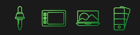 Set line Laptop, Pipette, Graphic tablet and Palette. Gradient color icons. Vector