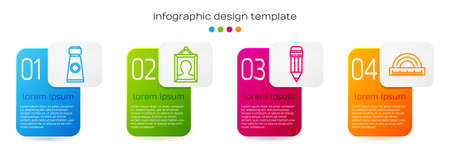 Set line Tube with paint palette, Picture, Pencil with eraser and Protractor. Business infographic template. Vector