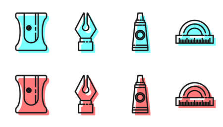 Set line Tube with paint palette, Pencil sharpener, Fountain pen nib and Protractor icon. Vector Stock Illustratie